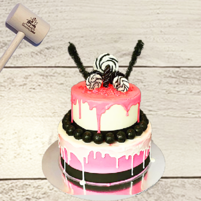 2-tier pink, White & Black SmashCake