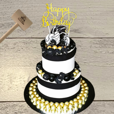 "2-tier Gold & Black ""Happy Birthday"" SmashCake"